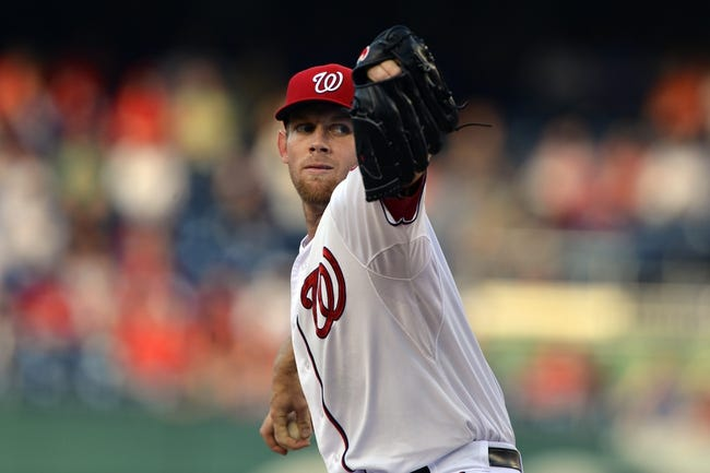 May 30, 2014; Washington, DC, USA; Washington Nationals starting pitcher Stephen Strasburg (37) pitches during the first inning against the Texas Rangers  at Nationals Park. Mandatory Credit: Tommy Gilligan-USA TODAY Sports