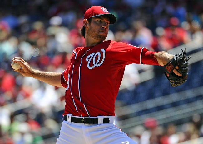 May 31, 2014; Washington, DC, USA; Washington Nationals starting pitcher Doug Fister (58) throws during the second inning against the Texas Rangers at Nationals Park. Mandatory Credit: Brad Mills-USA TODAY Sports