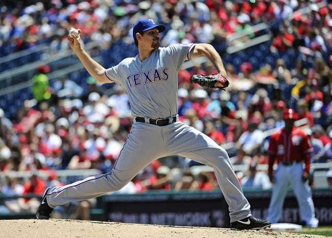 May 31, 2014; Washington, DC, USA; Texas Rangers starting pitcher Nick Tepesch (23) throws during the second inning against the Washington Nationals at Nationals Park. Mandatory Credit: Brad Mills-USA TODAY Sports