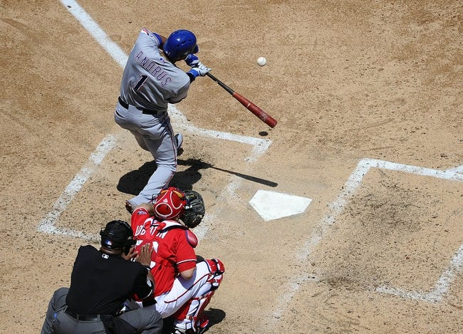 May 31, 2014; Washington, DC, USA; Texas Rangers shortstop Elvis Andrus (1) hits a double against the Washington Nationals during the fourth inning at Nationals Park. Mandatory Credit: Brad Mills-USA TODAY Sports