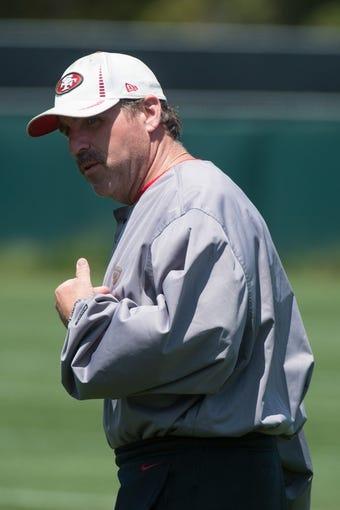 May 28, 2014; Santa Clara, CA, USA; San Francisco 49ers defensive line coach Jim Tomsula during organized team activities at the SAP Performance Facility. Mandatory Credit: Kyle Terada-USA TODAY Sports