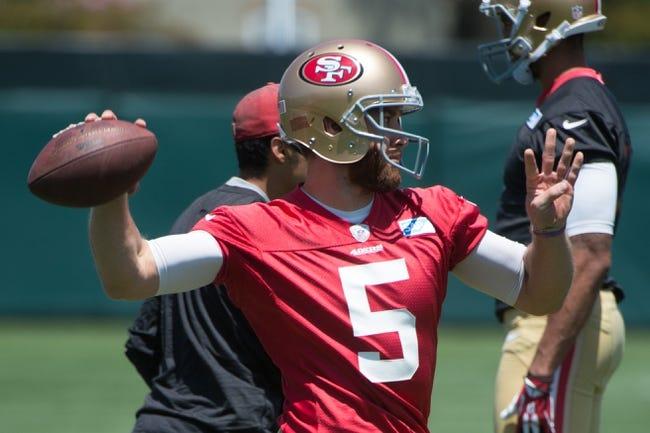 May 28, 2014; Santa Clara, CA, USA; San Francisco 49ers quarterback McLead Bethel-Thompson (5) during organized team activities at the SAP Performance Facility. Mandatory Credit: Kyle Terada-USA TODAY Sports