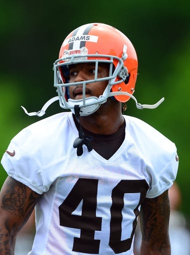 May 28, 2014; Berea, OH, USA; Cleveland Browns defensive back Royce Adams (40) during organized team activities at Cleveland Browns training facility. Mandatory Credit: Andrew Weber-USA TODAY Sports