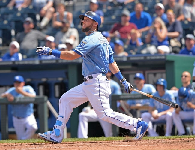May 28, 2014; Kansas City, MO, USA; Kansas City Royals left fielder Alex Gordon (4) at bat against the Houston Astros during the fifth inning at Kauffman Stadium. Mandatory Credit: Peter G. Aiken-USA TODAY Sports