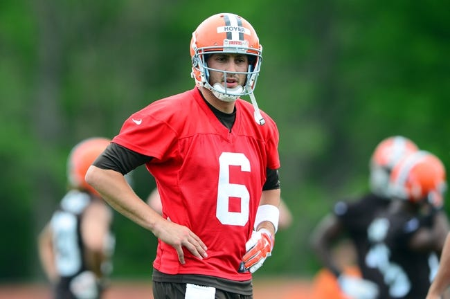 May 28, 2014; Berea, OH, USA; Cleveland Browns quarterback Brian Hoyer (6) during organized team activities at Cleveland Browns training facility. Mandatory Credit: Andrew Weber-USA TODAY Sports