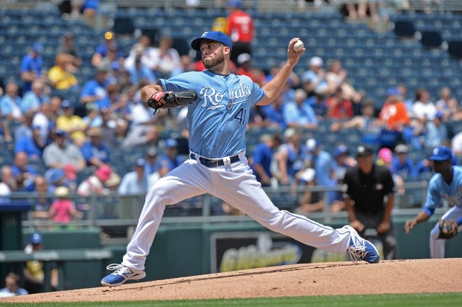 May 28, 2014; Kansas City, MO, USA; Kansas City Royals pitcher Danny Duffy (41) delivers a pitch against the Houston Astros during the first inning at Kauffman Stadium. Mandatory Credit: Peter G. Aiken-USA TODAY Sports