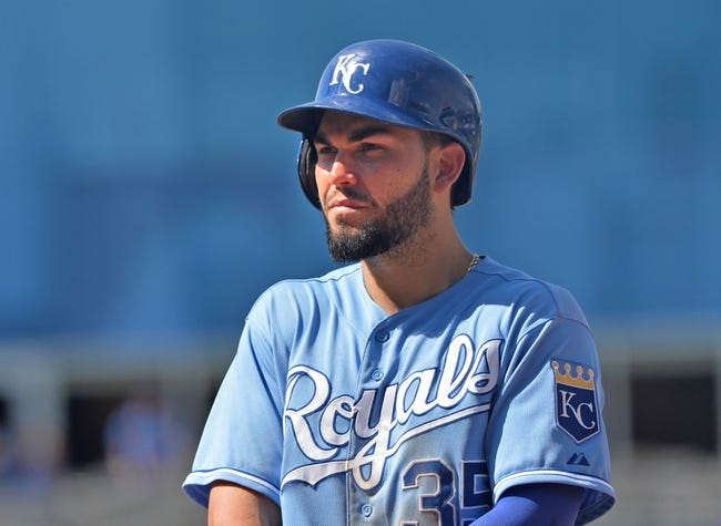 May 28, 2014; Kansas City, MO, USA; Kansas City Royals first basemen Eric Hosmer (35) looks to the dug out against the Houston Astros during the eighth inning at Kauffman Stadium. Mandatory Credit: Peter G. Aiken-USA TODAY Sports