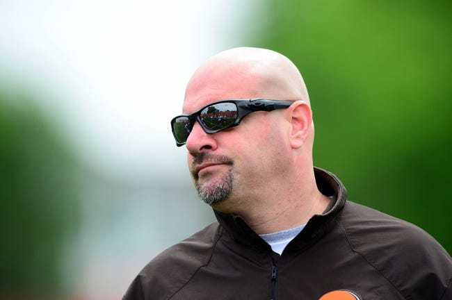 May 28, 2014; Berea, OH, USA; Cleveland Browns head coach Mike Pettine during organized team activities at Cleveland Browns training facility. Mandatory Credit: Andrew Weber-USA TODAY Sports