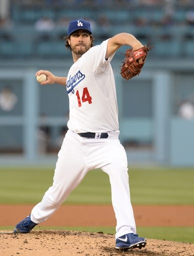 Jun 3, 2014; Los Angeles, CA, USA; Los Angeles Dodgers starting pitcher Dan Haren (14) in the second inning of the game against the Chicago White Sox at Dodger Stadium. Mandatory Credit: Jayne Kamin-Oncea-USA TODAY Sports