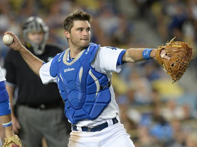 Jun 3, 2014; Los Angeles, CA, USA; Los Angeles Dodgers catcher Drew Butera (31) makes an out in the sixth inning of the game against the Chicago White Sox at Dodger Stadium. Mandatory Credit: Jayne Kamin-Oncea-USA TODAY Sports