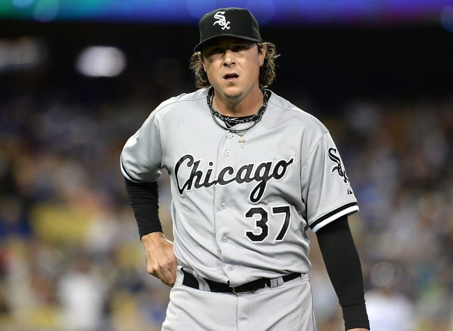 Jun 3, 2014; Los Angeles, CA, USA; Chicago White Sox relief pitcher Scott Downs (37) walks to the dugout in the seventh inning of the game against the Los Angeles Dodgers at Dodger Stadium. Mandatory Credit: Jayne Kamin-Oncea-USA TODAY Sports