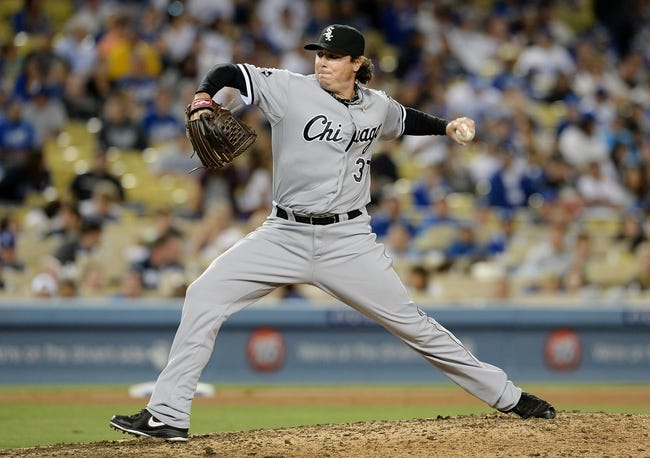 Jun 3, 2014; Los Angeles, CA, USA; Chicago White Sox relief pitcher Scott Downs (37) in the seventh inning of the game against the Los Angeles Dodgers at Dodger Stadium. Mandatory Credit: Jayne Kamin-Oncea-USA TODAY Sports