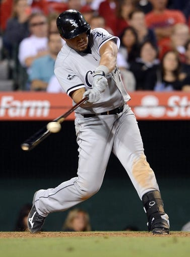 Jun 6, 2014; Anaheim, CA, USA; Chicago White Sox first baseman Jose Abreu (79) at bat in the game against the Los Angeles Angels at Angel Stadium of Anaheim. Angels won 8-4. Mandatory Credit: Jayne Kamin-Oncea-USA TODAY Sports