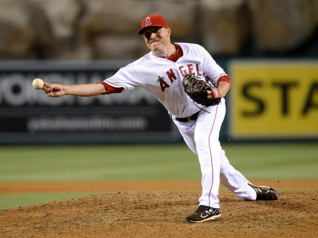 Jun 6, 2014; Anaheim, CA, USA; Los Angeles Angels relief pitcher Joe Smith (38) in the eighth inning of the game against the Chicago White Sox at Angel Stadium of Anaheim. Angels won 8-4. Mandatory Credit: Jayne Kamin-Oncea-USA TODAY Sports