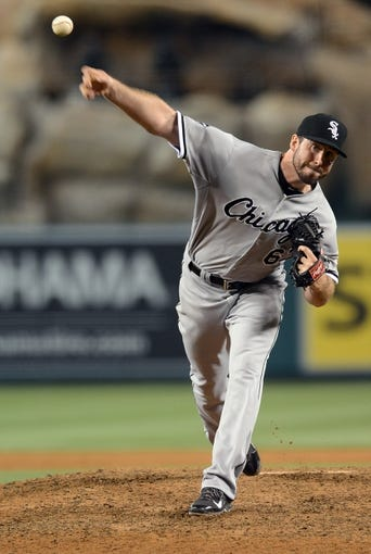 Jun 6, 2014; Anaheim, CA, USA; Chicago White Sox starting pitcher Scott Carroll (67) during the game against the Los Angeles Angels at Angel Stadium of Anaheim. Angels won 8-4. Mandatory Credit: Jayne Kamin-Oncea-USA TODAY Sports