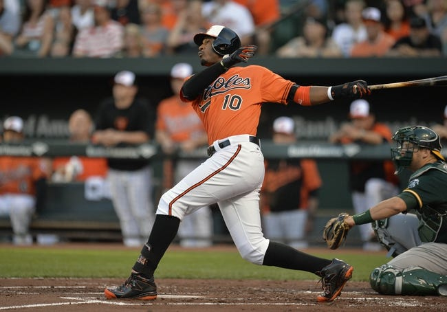 Jun 7, 2014; Baltimore, MD, USA; Baltimore Orioles center fielder Adam Jones (10) hits a solo home run in the first inning against the Oakland Athletics at Oriole Park at Camden Yards. Mandatory Credit: Joy R. Absalon-USA TODAY Sports