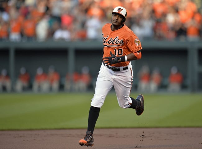 Jun 7, 2014; Baltimore, MD, USA; Baltimore Orioles center fielder Adam Jones (10) rounds second base after hitting a solo home run in the first inning against the Oakland Athletics at Oriole Park at Camden Yards. Mandatory Credit: Joy R. Absalon-USA TODAY Sports
