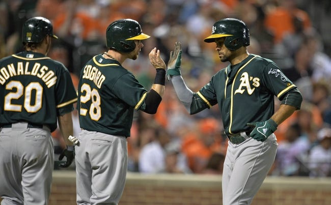 Jun 7, 2014; Baltimore, MD, USA; Oakland Athletics teammates Eric Sogard (28) and Coco Crisp (4) celebrate after scoring in the eighth inning against the Baltimore Orioles at Oriole Park at Camden Yards. The Orioles defeated the Athletics 6-3. Mandatory Credit: Joy R. Absalon-USA TODAY Sports