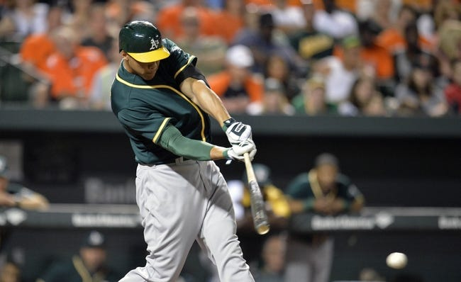 Jun 7, 2014; Baltimore, MD, USA; Oakland Athletics pinch hitter Kyle Blanks (88) hits a two-run rbi single in the eighth inning against the Baltimore Orioles at Oriole Park at Camden Yards. The Orioles defeated the Athletics 6-3. Mandatory Credit: Joy R. Absalon-USA TODAY Sports
