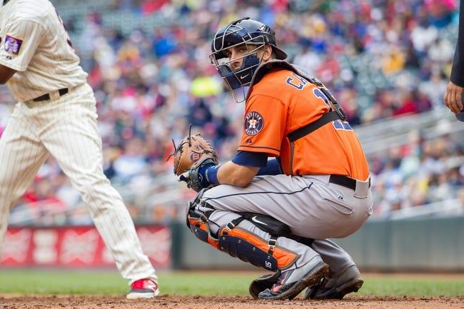 Jun 7, 2014; Minneapolis, MN, USA; Houston Astros catcher Jason Castro (15) catching against the Minnesota Twins at Target Field. Mandatory Credit: Brad Rempel-USA TODAY Sports