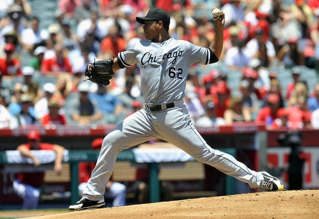 June 8, 2014; Anaheim, CA, USA; Chicago White Sox starting pitcher Jose Quintana (62) pitches the first inning against the Los Angeles Angels at Angel Stadium of Anaheim. Mandatory Credit: Gary A. Vasquez-USA TODAY Sports