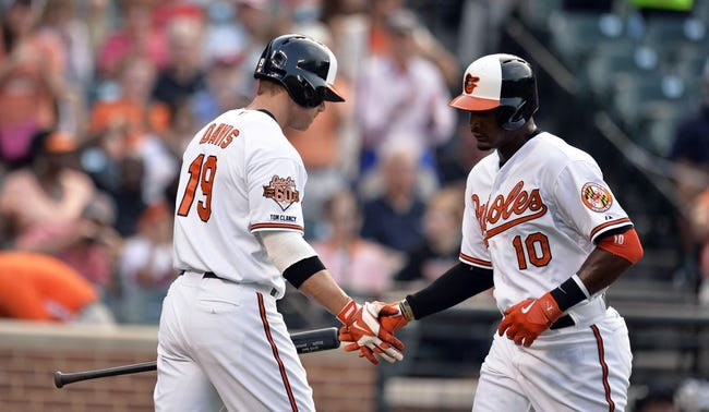 Jun 9, 2014; Baltimore, MD, USA; Baltimore Orioles designated hitter Adam Jones (10) is congratulated by Chris Davis (19) after hitting a solo home run in the first inning against the Boston Red Sox at Oriole Park at Camden Yards. Mandatory Credit: Joy R. Absalon-USA TODAY Sports