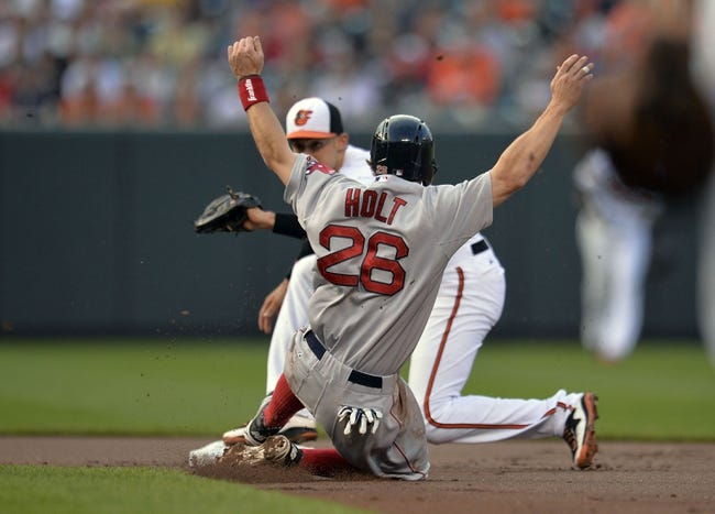 Jun 9, 2014; Baltimore, MD, USA; Boston Red Sox left fielder Brock Holt (26) is caught stealing second base as Baltimore Orioles second baseman Ryan Flaherty (3) makes the play in the first inning at Oriole Park at Camden Yards. Mandatory Credit: Joy R. Absalon-USA TODAY Sports