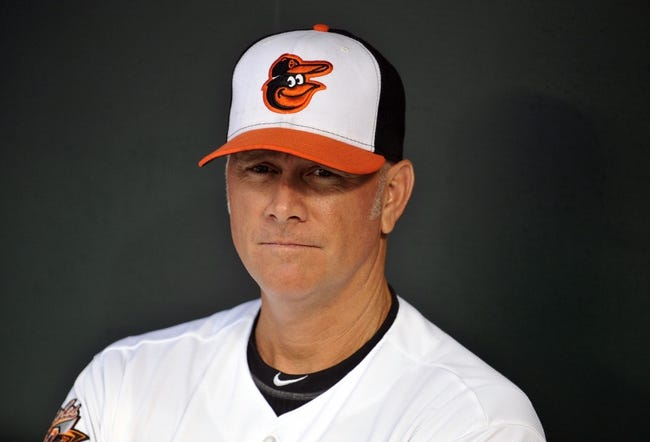 Jun 10, 2014; Baltimore, MD, USA; Baltimore Orioles batting coach Jim Presley (15) prior to a game against the Boston Red Sox at Oriole Park at Camden Yards. Mandatory Credit: Joy R. Absalon-USA TODAY Sports