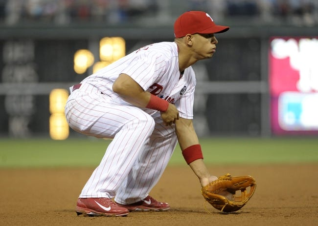 Jun 10, 2014; Philadelphia, PA, USA; Philadelphia Phillies third baseman Cesar Hernandez (16) readies himself against the San Diego Padres at Citizens Bank Park. Mandatory Credit: Eric Hartline-USA TODAY Sports