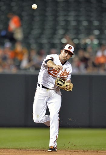 Jun 10, 2014; Baltimore, MD, USA; Baltimore Orioles shortstop J.J. Hardy (2) throws over to first base to get out Boston Red Sox second baseman Dustin Pedroia (not shown) in the fifth inning at Oriole Park at Camden Yards. The Red Sox defeated the Orioles 1-0. Mandatory Credit: Joy R. Absalon-USA TODAY Sports
