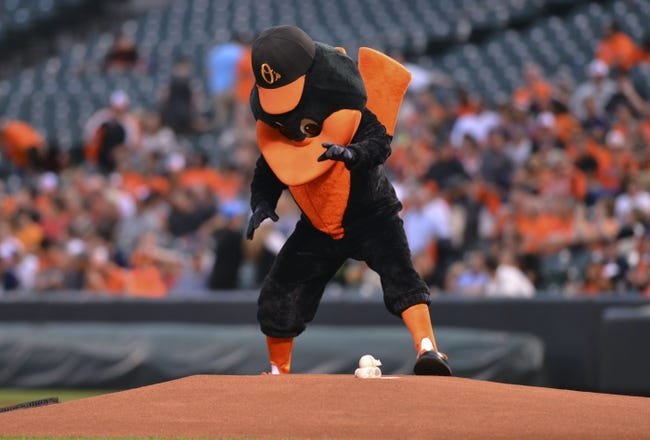 Jun 11, 2014; Baltimore, MD, USA;  Baltimore Orioles mascots stands over the game ball on the mound prior to the beginning of the game against the Boston Red Sox  at Oriole Park at Camden Yards. Mandatory Credit: Tommy Gilligan-USA TODAY Sports
