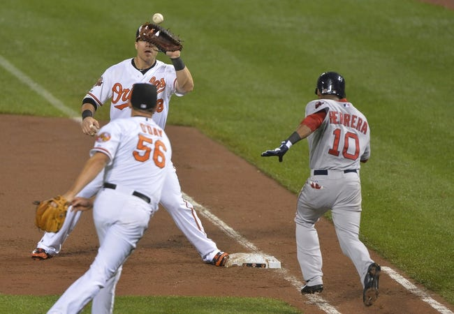 Jun 11, 2014; Baltimore, MD, USA;  Baltimore Orioles relief pitcher Darren O'Day (56) throws to  first baseman Chris Davis (19) for the force out of Boston Red Sox third baseman Jonathan Herrera (10) to end the eighth inning  at Oriole Park at Camden Yards. Baltimore Orioles defeated Boston Red Sox 6-0. Mandatory Credit: Tommy Gilligan-USA TODAY Sports