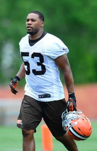 Jun 12, 2014; Berea, OH, USA; Cleveland Browns linebacker Craig Robertson during minicamp at Browns training facility. Mandatory Credit: Andrew Weber-USA TODAY Sports
