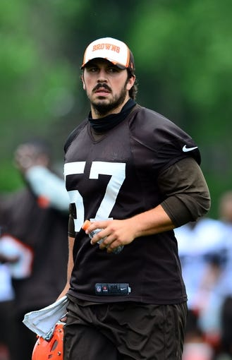 Jun 12, 2014; Berea, OH, USA; Cleveland Browns long snapper Christian Yount during minicamp at Browns training facility. Mandatory Credit: Andrew Weber-USA TODAY Sports