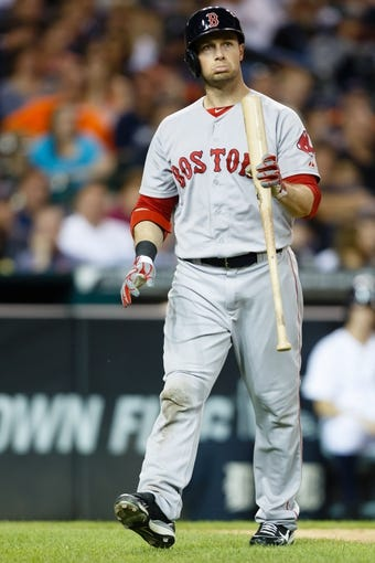 Jun 8, 2014; Detroit, MI, USA; Boston Red Sox right fielder Daniel Nava (29) reacts after striking out in the sixth inning against the Detroit Tigers  Comerica Park. Mandatory Credit: Rick Osentoski-USA TODAY Sports
