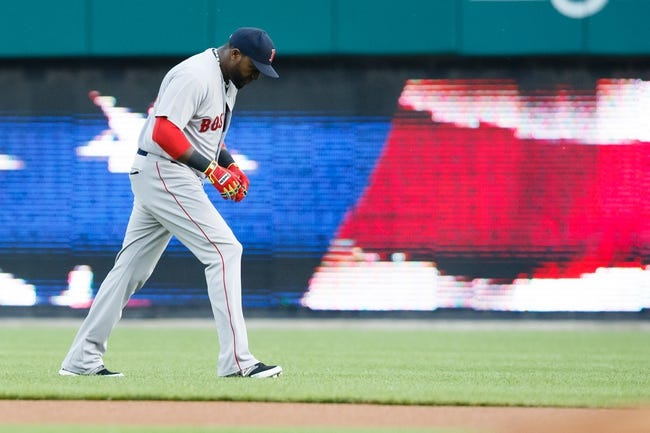 Jun 8, 2014; Detroit, MI, USA; Boston Red Sox designated hitter David Ortiz (34) walks off the field after the national anthem before the game against the Detroit Tigers at Comerica Park. Mandatory Credit: Rick Osentoski-USA TODAY Sports