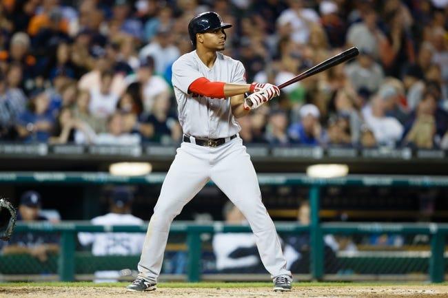 Jun 8, 2014; Detroit, MI, USA; Boston Red Sox third baseman Xander Bogaerts (2) at bat against the Detroit Tigers at Comerica Park. Mandatory Credit: Rick Osentoski-USA TODAY Sports