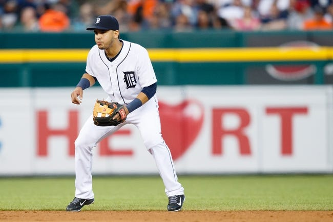 Jun 7, 2014; Detroit, MI, USA; Detroit Tigers shortstop Eugenio Suarez (30) in the field against the Boston Red Sox at Comerica Park. Mandatory Credit: Rick Osentoski-USA TODAY Sports