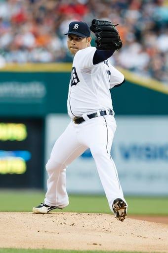 Jun 8, 2014; Detroit, MI, USA; Detroit Tigers starting pitcher Anibal Sanchez (19) pitches against the Boston Red Sox at Comerica Park. Mandatory Credit: Rick Osentoski-USA TODAY Sports