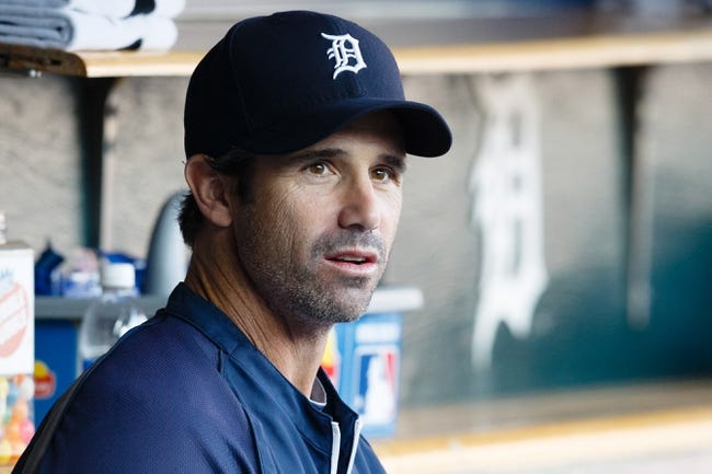 Jun 7, 2014; Detroit, MI, USA; Detroit Tigers manager Brad Ausmus (7) in the dugout before the game against the Boston Red Sox at Comerica Park. Mandatory Credit: Rick Osentoski-USA TODAY Sports