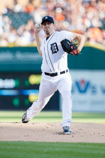 Jun 7, 2014; Detroit, MI, USA; Detroit Tigers starting pitcher Max Scherzer (37) pitches against the Boston Red Sox at Comerica Park. Mandatory Credit: Rick Osentoski-USA TODAY Sports