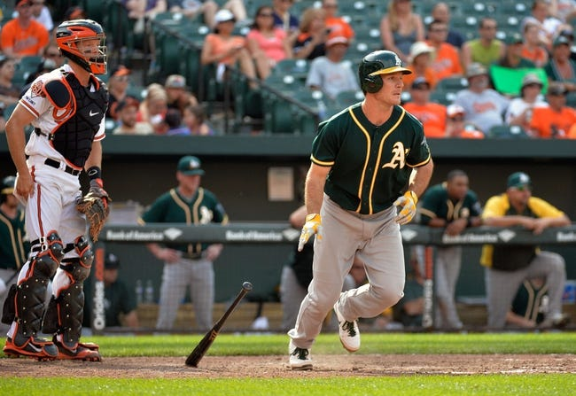 Jun 8, 2014; Baltimore, MD, USA; Oakland Athletics designated hitter John Jaso (5) bats in the ninth inning against the Baltimore Orioles at Oriole Park at Camden Yards. The Athletics defeated the Orioles 11-1. Mandatory Credit: Joy R. Absalon-USA TODAY Sports