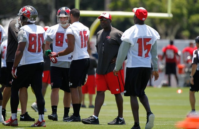 Jun 10, 2014; Tampa Bay, FL, USA;  Tampa Bay Buccaneers head coach Lovie Smith at One Buccaneer Place. Mandatory Credit: Kim Klement-USA TODAY Sports