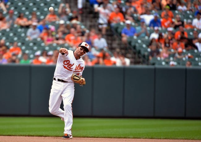 Jun 8, 2014; Baltimore, MD, USA; Baltimore Orioles shortstop J.J. Hardy (2) throws over to first base in the seventh inning against the Oakland Athletics at Oriole Park at Camden Yards. The Athletics defeated the Orioles 11-1. Mandatory Credit: Joy R. Absalon-USA TODAY Sports