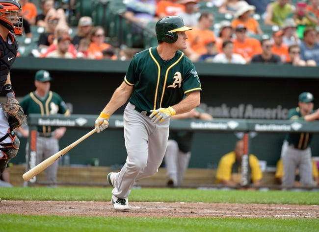 Jun 8, 2014; Baltimore, MD, USA; Oakland Athletics designated hitter John Jaso (5) bats in the seventh inning against the Baltimore Orioles at Oriole Park at Camden Yards. The Athletics defeated the Orioles 11-1. Mandatory Credit: Joy R. Absalon-USA TODAY Sports