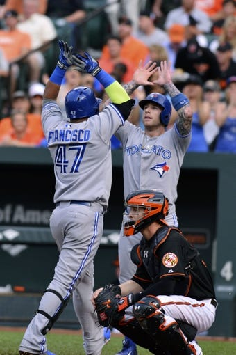 Jun 13, 2014; Baltimore, MD, USA; Toronto Blue Jays third baseman Juan Francisco (47) hives Toronto Blue Jays third baseman Brett Lawrie (13) after hitting a two-run home run during the second inning against the Baltimore Orioles at Oriole Park at Camden Yards. Mandatory Credit: Tommy Gilligan-USA TODAY Sports
