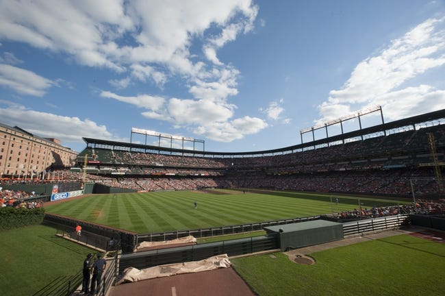 Jun 14, 2014; Baltimore, MD, USA;  A general view of Oriole Park at Camden Yards during the game between the Baltimore Orioles and Toronto Blue Jays . Baltimore Orioles defeats the Toronto Blue Jays 3-2. Mandatory Credit: Tommy Gilligan-USA TODAY Sports