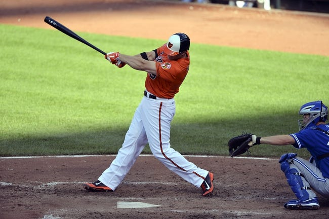 Jun 14, 2014; Baltimore, MD, USA;  Baltimore Orioles first baseman Chris Davis (19) hits a two run home run in the fourth inning against the Toronto Blue Jays at Oriole Park at Camden Yards. Baltimore Orioles defeats the Toronto Blue Jays 3-2. Mandatory Credit: Tommy Gilligan-USA TODAY Sports