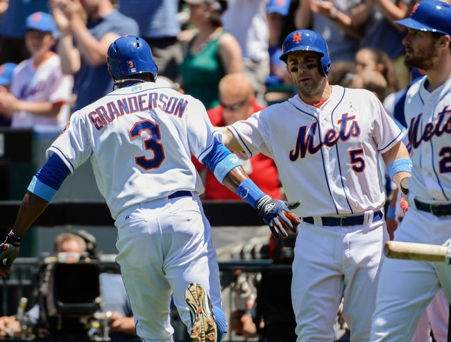 Jun 15, 2014; New York, NY, USA; New York Mets right fielder Curtis Granderson (3) celebrates hitting a home run with New York  third baseman David Wright (5) during the first inning against the San Diego Padres at Citi Field. Mandatory Credit: Robert Deutsch-USA TODAY Sports