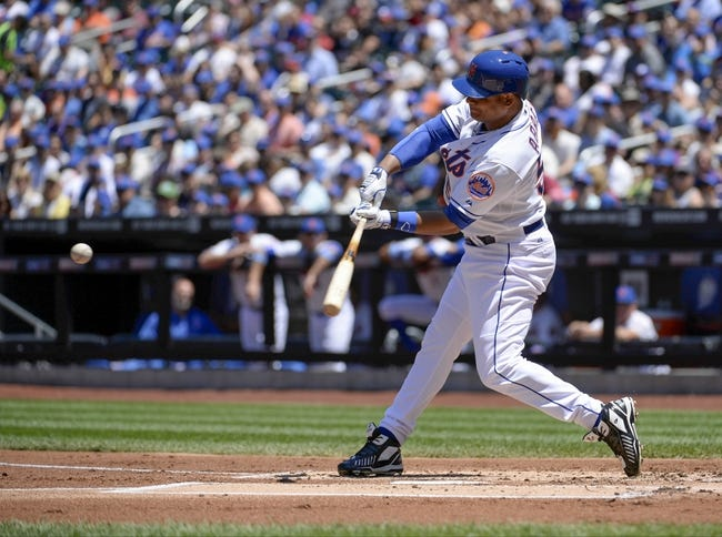 Jun 15, 2014; New York, NY, USA; New York Mets right fielder Bobby Abreu (53) his an rbi double during the first inning against the San Diego Padres at Citi Field. Mandatory Credit: Robert Deutsch-USA TODAY Sports